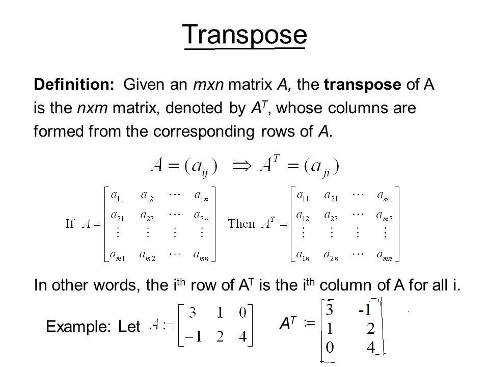 Mathematics Transpose of a Matrix, symmetric and skew